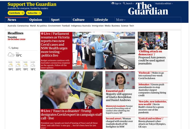 the guardian australia home page
