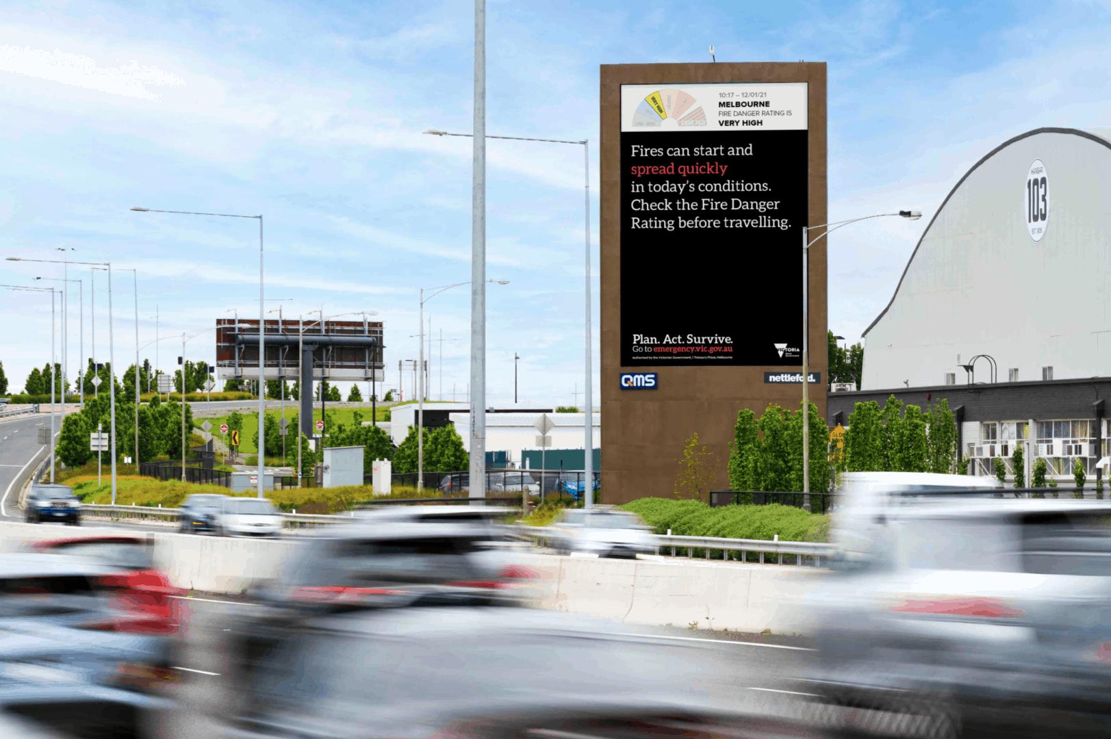 QMS fire warning billboards