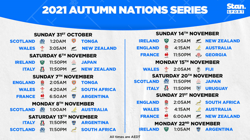 Stan Sport secures every rugby match of the 2021 Autumn Nations Series